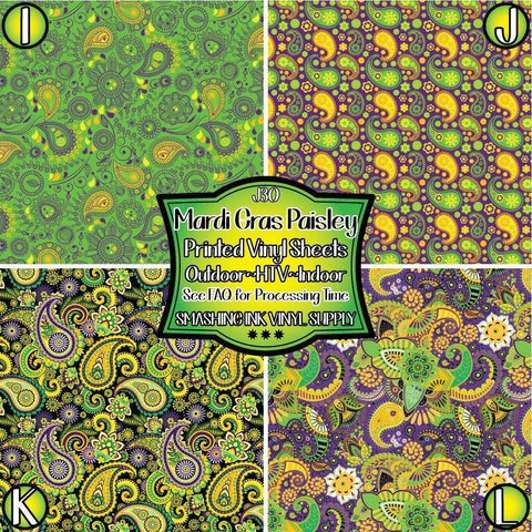 Mardi Gras Paisley - Patterned Vinyl Done Printed