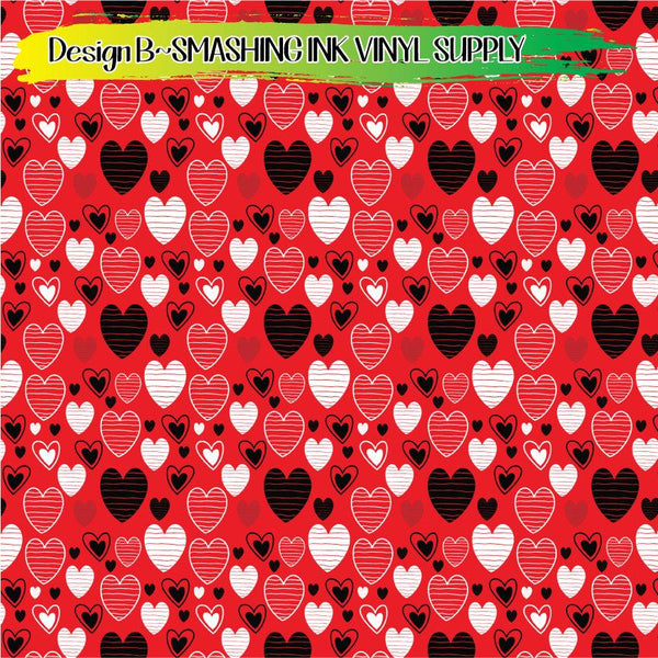 Black Red White Heart - Pattern Vinyl (READY IN 3 BUS DAYS)