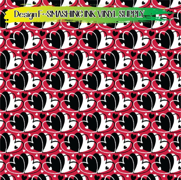 Red Black White Hearts - Pattern Vinyl (SHIPS IN 3 BUS DAYS)