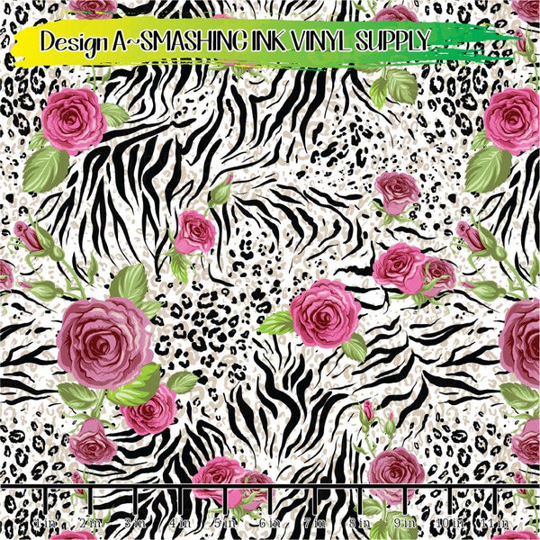 Floral Animal Print - Pattern Vinyl (READY IN 3 BUS DAYS)