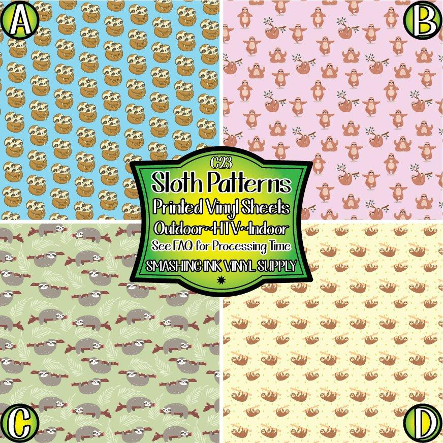 Sloth Pattern - Pattern Vinyl (SHIPS IN 3 BUS DAYS)