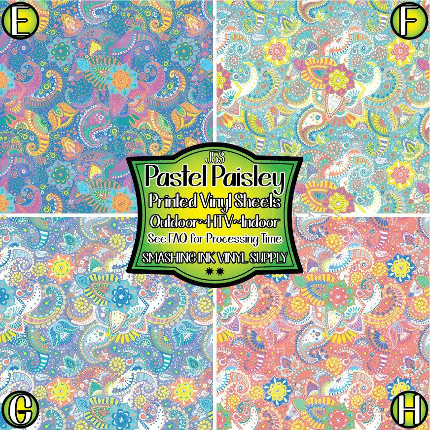 Pastel Paisley Floral - Pattern Vinyl (SHIPS IN 3 BUS DAYS)