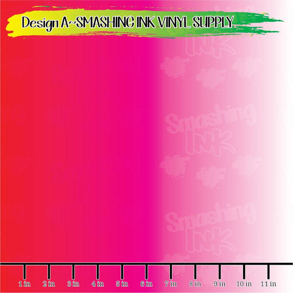 Red Pink White Ombre - Pattern Vinyl (SHIPS IN 3 BUS DAYS)