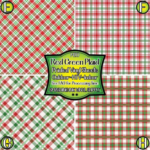 Red Green White Plaid - Patterned Vinyl Done Printed