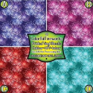 Colorful Fireworks - Pattern Vinyl (READY IN 3 BUS DAYS)