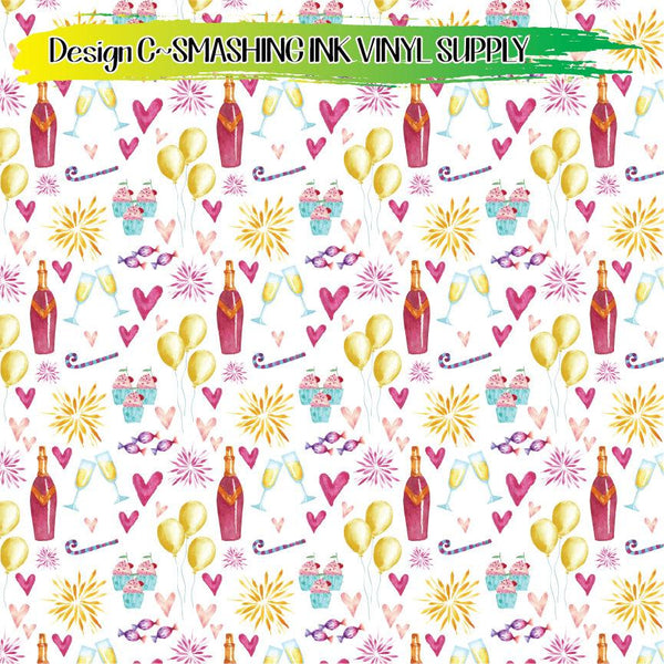 Watercolor New Years Pattern - Pattern Vinyl (READY IN 3 BUS DAYS)