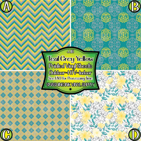 Teal Grey Yellow - Patterned Vinyl Done Printed