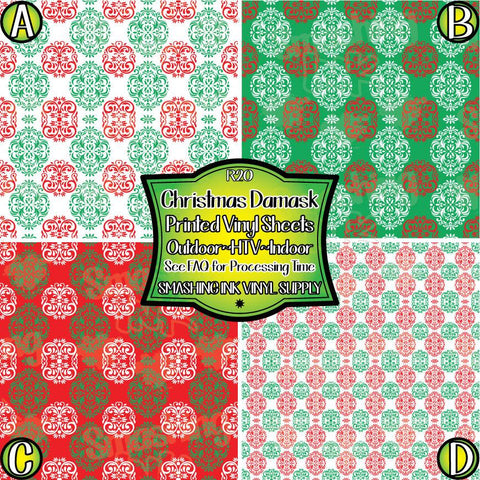 Christmas Damask - Patterned Vinyl Done Printed