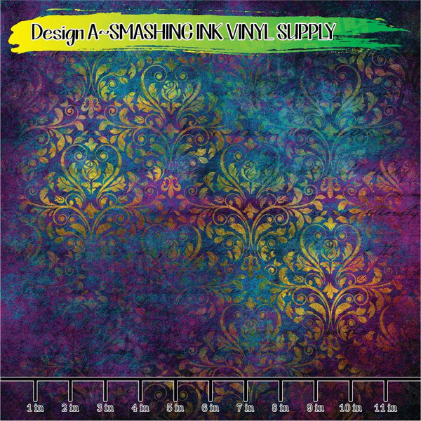 Colorful Damask - Pattern Vinyl (READY IN 3 BUS DAYS)