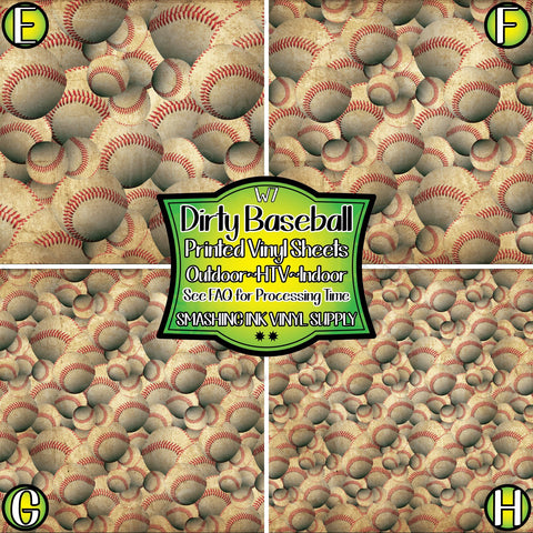 Dirty Baseball Print - Patterned Vinyl Done Printed