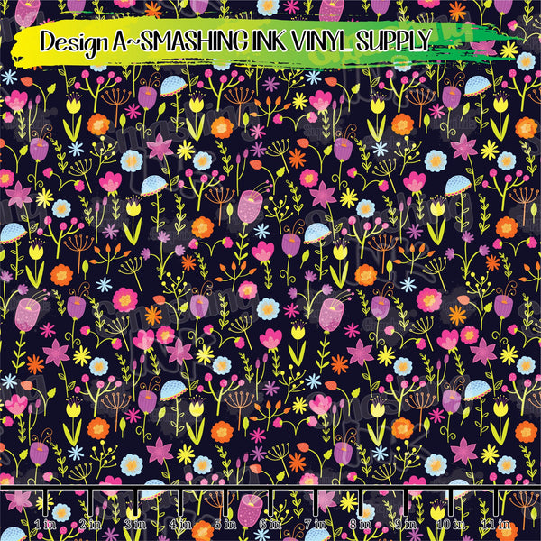 Bright Floral Printed - Pattern Vinyl (READY IN 3 BUS DAYS)