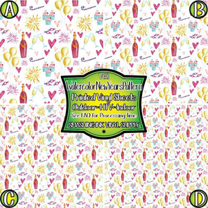 Watercolor New Years Pattern - Pattern Vinyl (MTO-3 BUS DAYS)