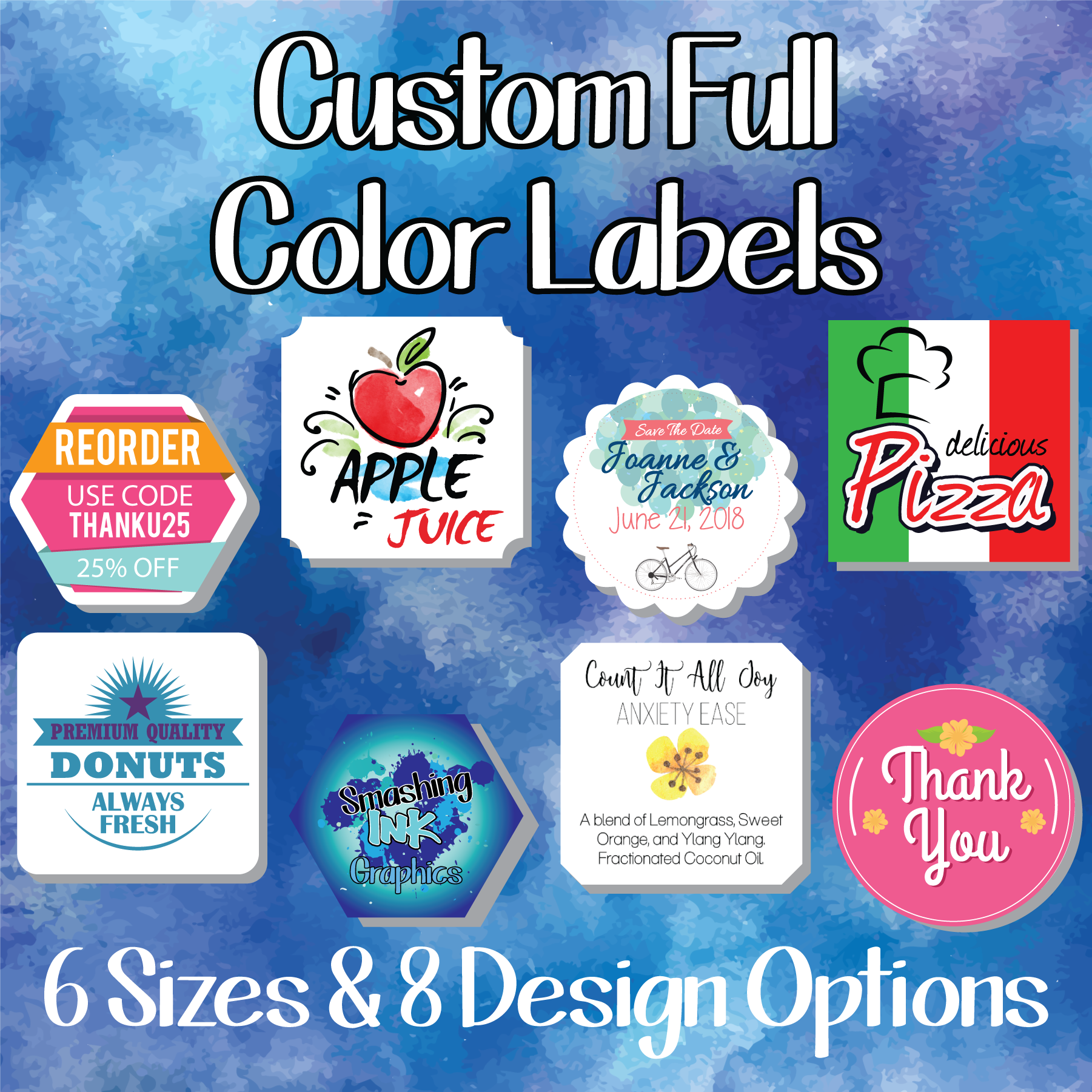 Full Color Custom Labels For Tumblers Custom