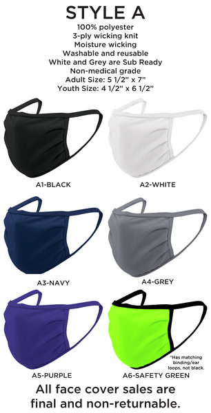 Face Coverings/Masks - Blank - Adult & Youth - Sublimation Ready (100% Poly)