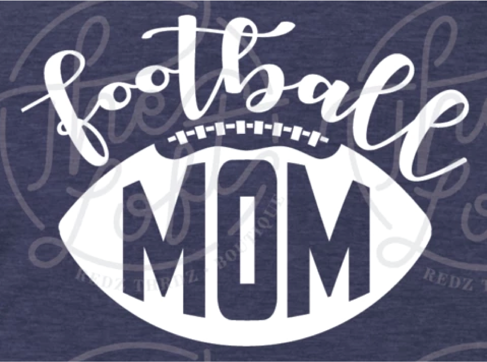 Football Mom - White Ink - Screen Printed Transfer