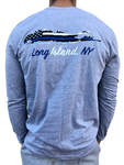 Long Island Blue Lives Matter Grey Long Sleeve Strong Tee