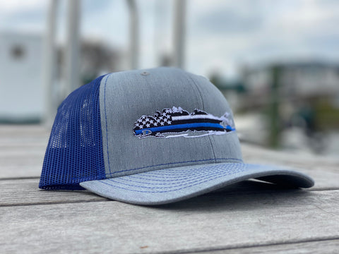 Long Island Blue Lives Matter Trucker Hat- Grey/Blue