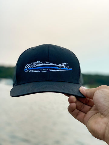 Long Island Blue Lives Matter Trucker Hat- Black