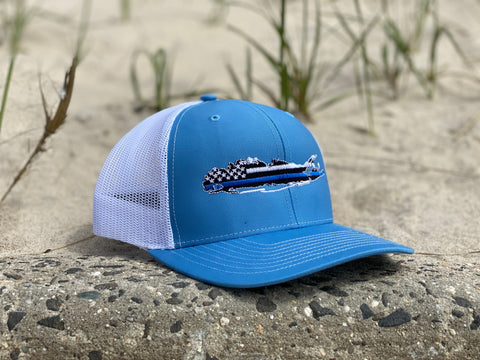 Long Island Blue Lives Matter Trucker Hat- Light Blue