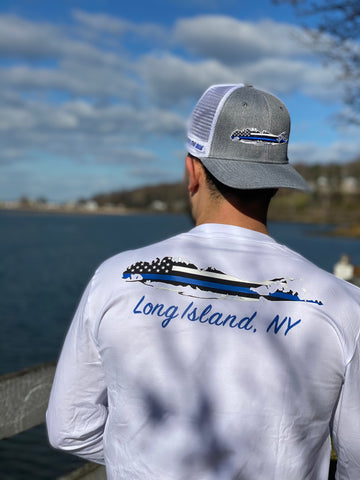 Blue Lives Matter Long Sleeve T-shirt- White