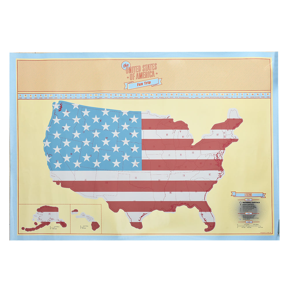 American Scratch Map US Version Poster