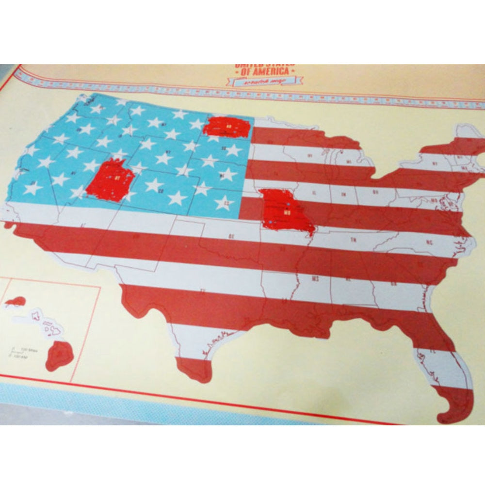 American Scratch Map US Version Poster – Adazzelz