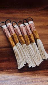 Antique Peach & Mustard Tassel Keychain