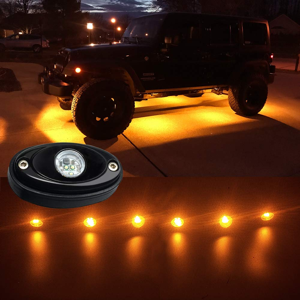 6 Pods Amber LED light pod Rock Light Kit LED Neon Lights - Elite Auto Customs