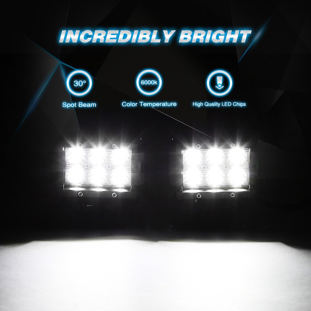 20 in 126W LED Light bar 4 piece set 4 in 18w LED light pods - Elite Auto Customs