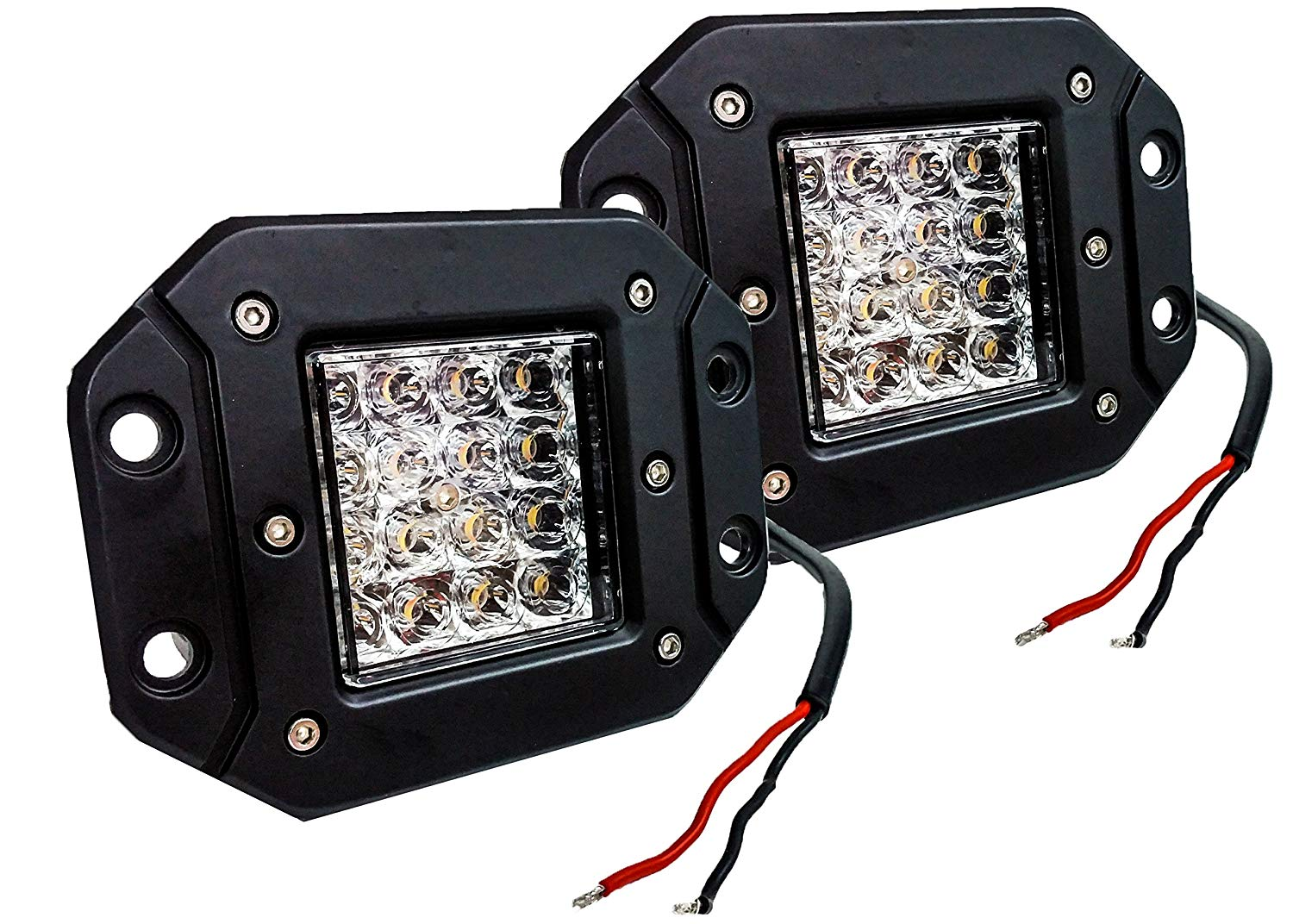dual color white and amber led light pods with harness - Elite Auto Customs