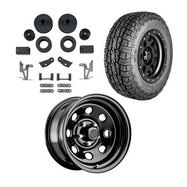 "2018 JEEP Rubicon ExpressGenuine Packages Trail Master 2.5"" Leveling Lift Kit with Pro Comp 97 Series Rock Crawler Wheels and Pro Comp A/T Sport Tires - JEEPJKPKG1 - Elite Auto Customs"