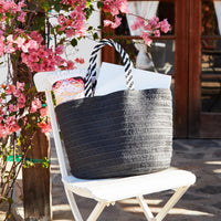 B-Low the belt black straw bag