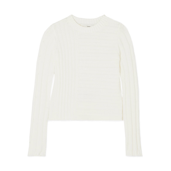 Fall Style White Ribbed Sweater