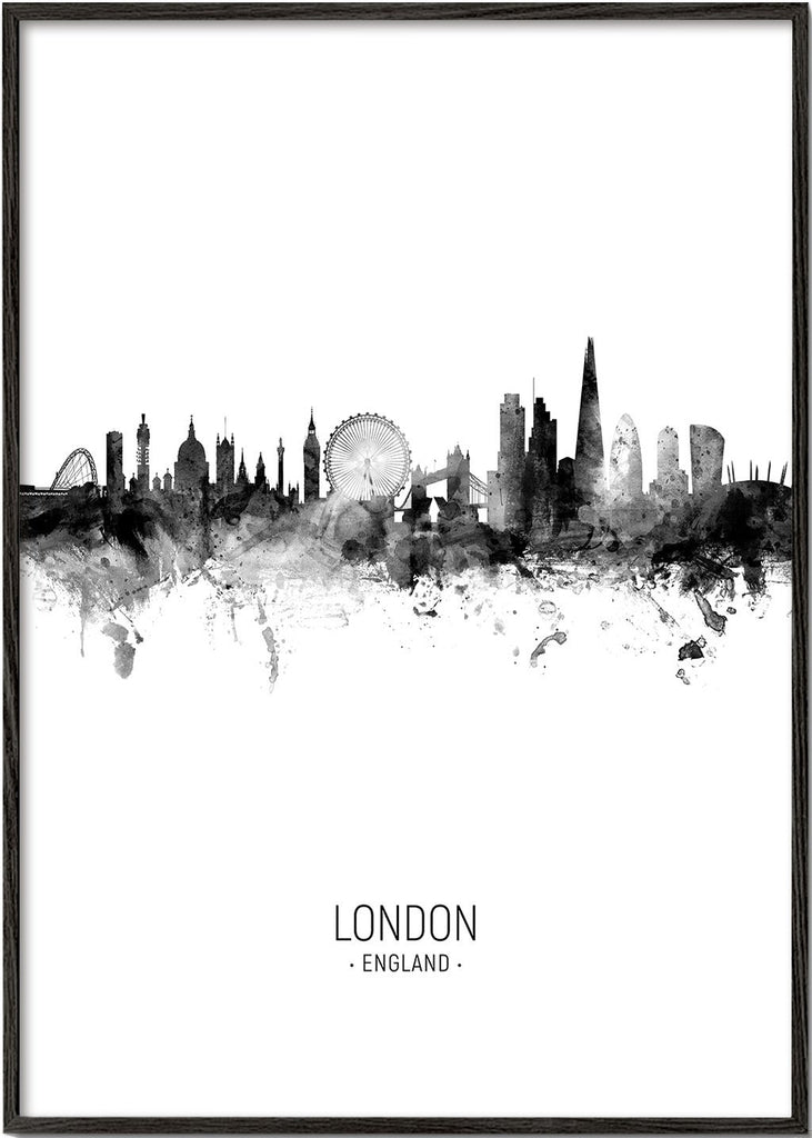 London skyline black and white