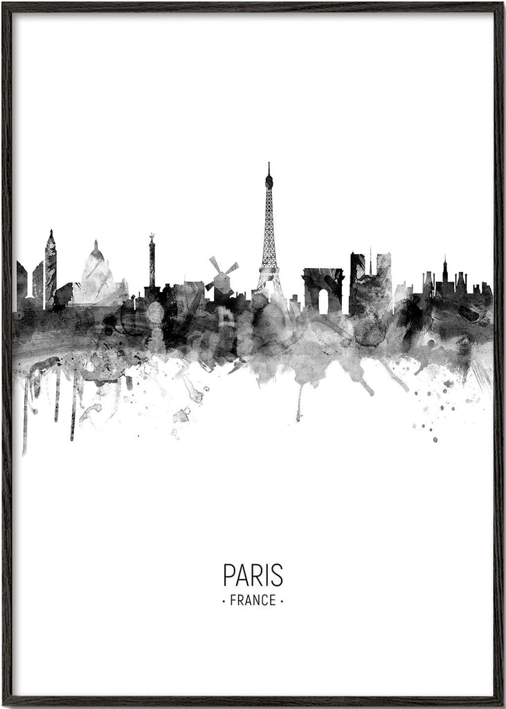 Paris skyline black and white