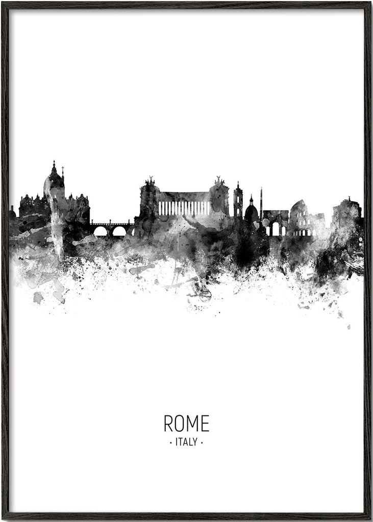 Rome skyline black and white
