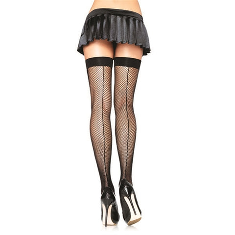 Fishnet Backseam Thigh Highs - Queen Size - Black LA-9112Q