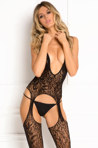 Lace Seduction Bodystocking  - One Size - Black RR-7049-BLKOS