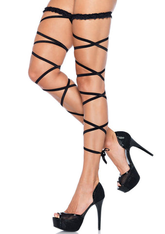 Garter Leg Wrap Set - One Size - Black LA-9142