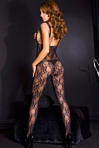 Lace Peek - a - Boo Crotchless Bodystocking W / Satin Bow - One Size - Black ML-1462-BLK