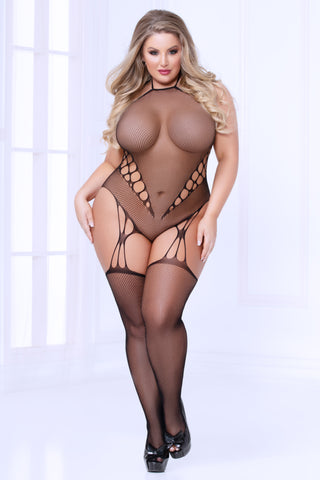 Fishnet Teddy Bodystocking - Queen Size - Black STM-20469X