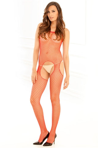 Industrial Net Suspender Bodystocking - One Size - Red RR-7002-RED