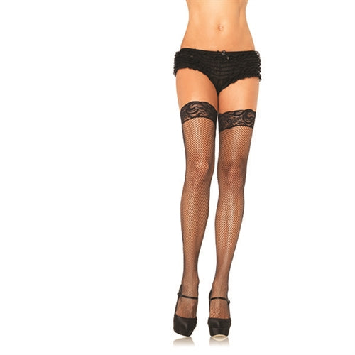 Stay Up Fishnet Lace Top Thigh Highs - One Size - Black LA-9122BLK