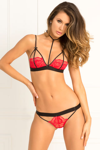 2 Pc Hot Harness Bra and G-String Set - Medium/large - Red RR-532132-REDML
