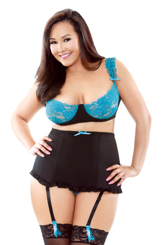 Lace Bra and High Waist Garter  Panty - 3x - 4x -  Black/teal FL-BP180-3X4X