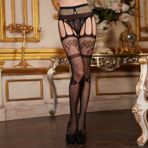 Fish Net Garter With Hose Thrilling Design, One Size - The Naughty Closet