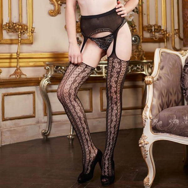 Womens Sexy Lingerie net Lace Garter Belt Top Thigh Stocking Pantyhose - The Naughty Closet