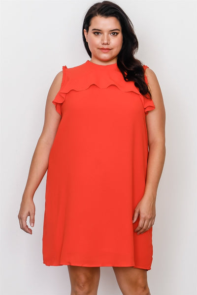 Plus Size Ruffle Dress w/ Back Tie In Lavender, Orange Or Royal Blue - The Naughty Closet