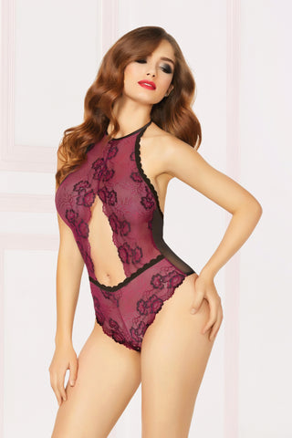 Crossed Dye Lace Bodysuit - One Size - Black - Wine STM-10858PBLKWN