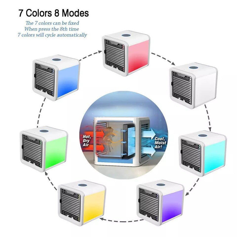 USB Mini Portable Air Conditioner Humidifier Purifier 7 Colors Light